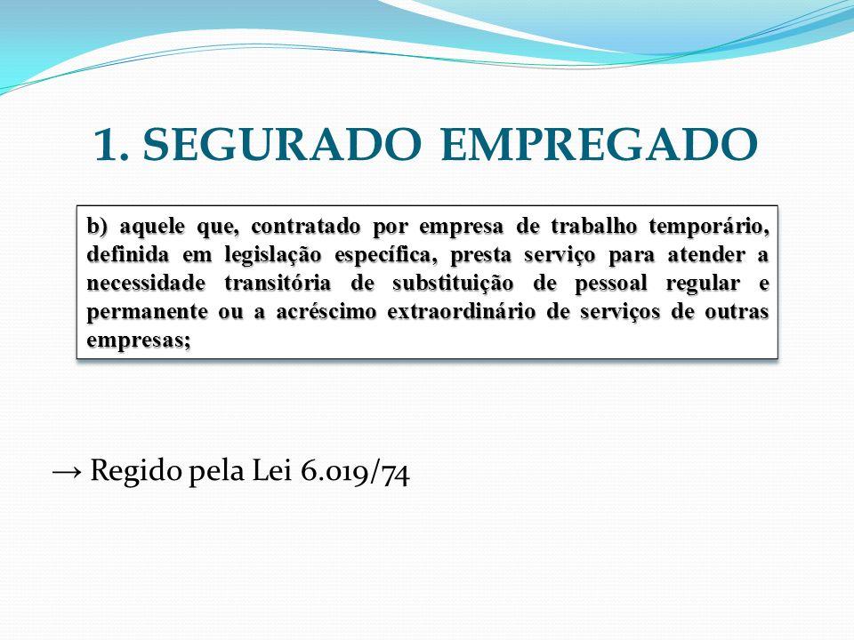 1. SEGURADO EMPREGADO → Regido pela Lei 6.019/74