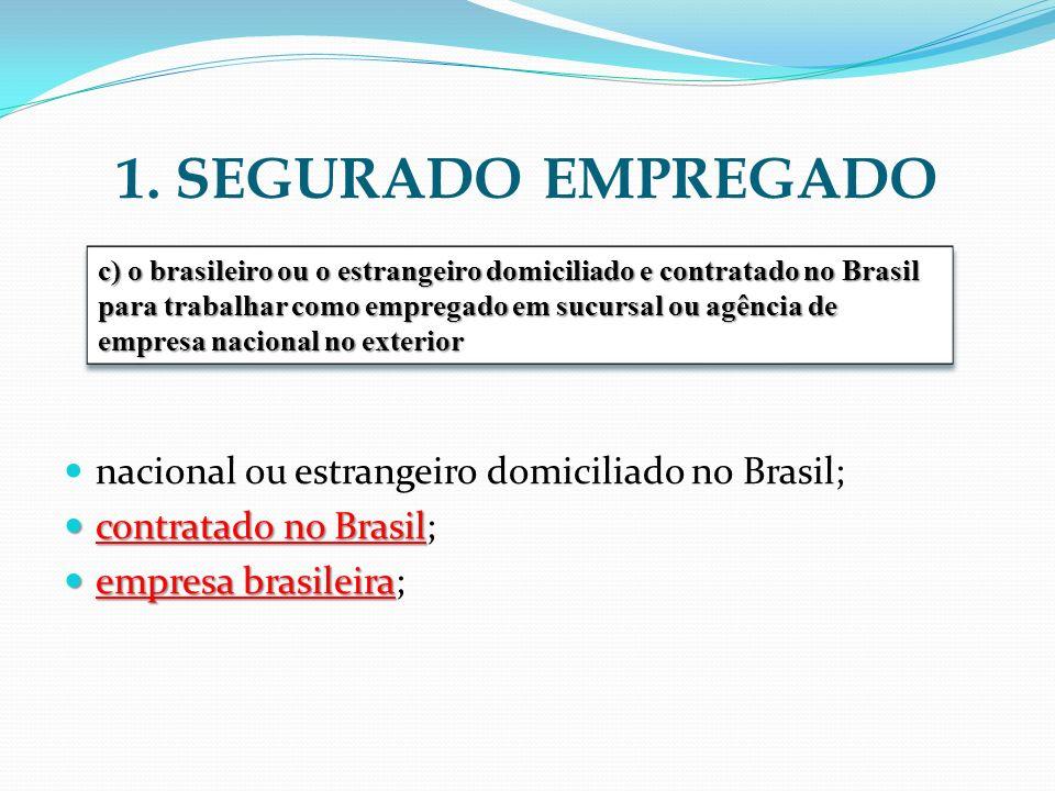 1. SEGURADO EMPREGADO nacional ou estrangeiro domiciliado no Brasil;