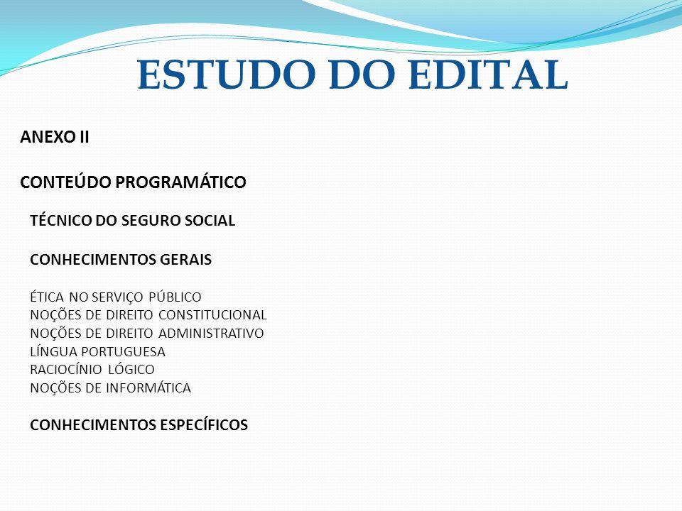 ESTUDO DO EDITAL ANEXO II CONTEÚDO PROGRAMÁTICO
