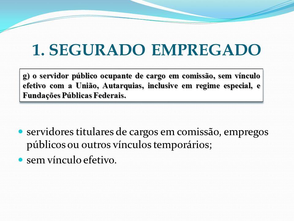 1. SEGURADO EMPREGADO servidores titulares de cargos em comissão, empregos públicos ou outros vínculos temporários;