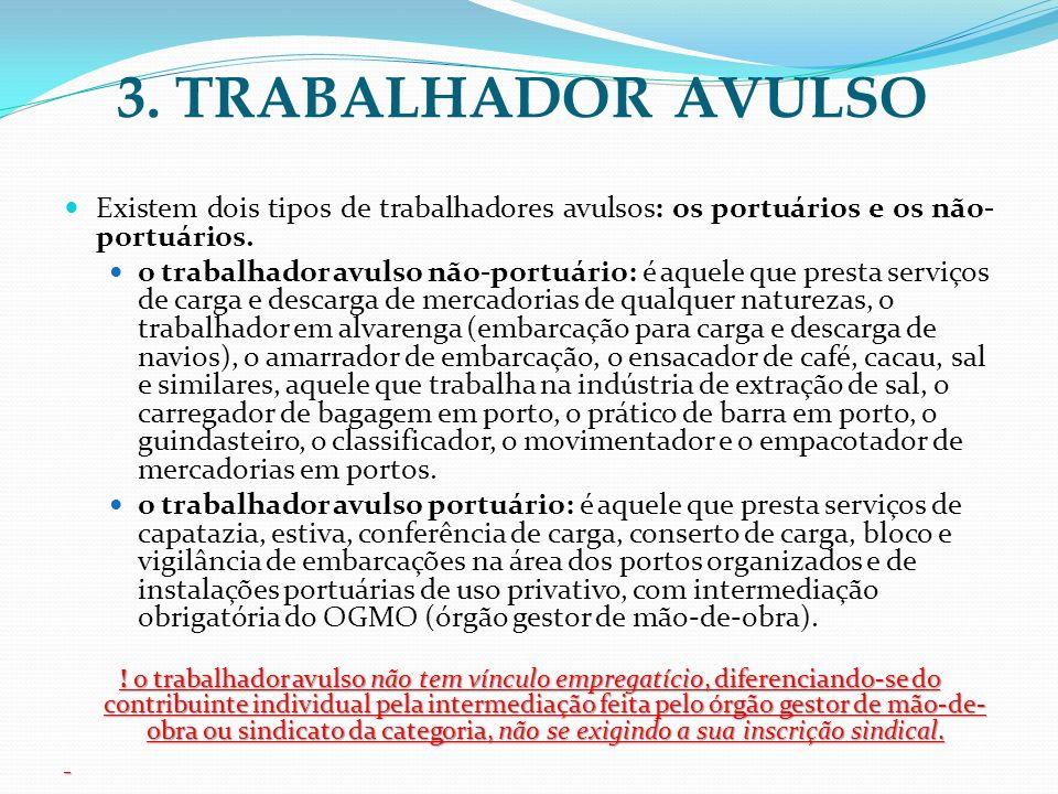 3. TRABALHADOR AVULSO Existem dois tipos de trabalhadores avulsos: os portuários e os não-portuários.