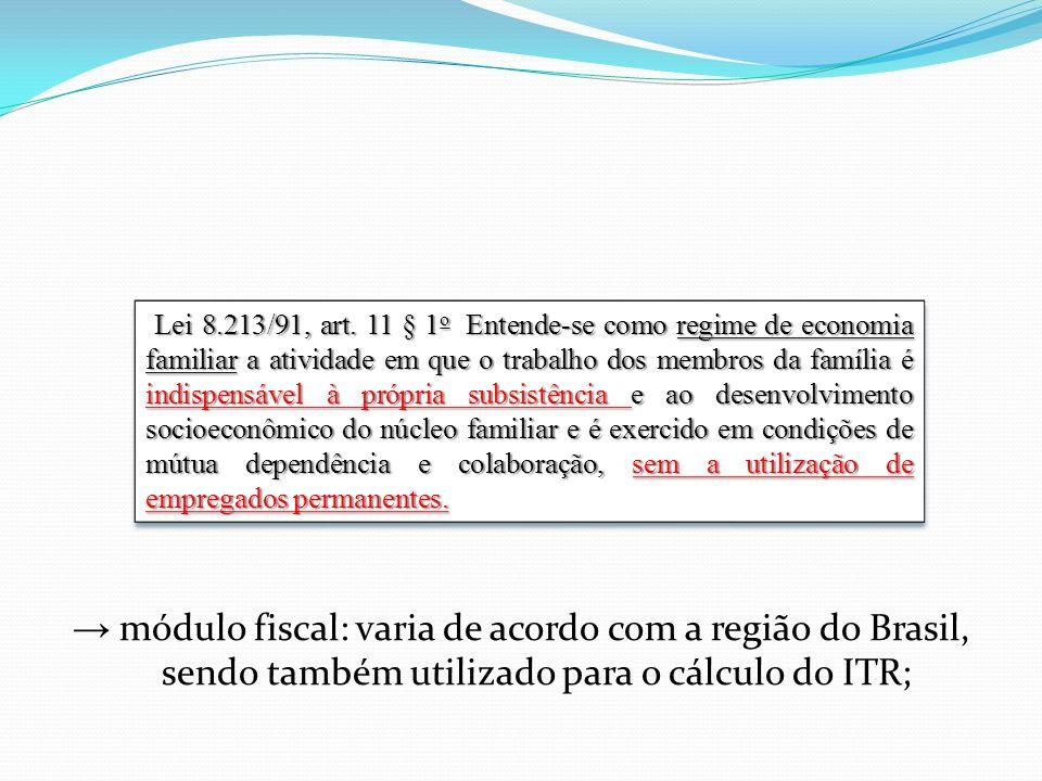 → módulo fiscal: varia de acordo com a região do Brasil, sendo também utilizado para o cálculo do ITR;