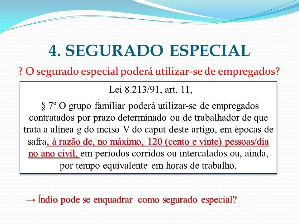 4. SEGURADO ESPECIAL O segurado especial poderá utilizar-se de empregados Lei 8.213/91, art. 11,