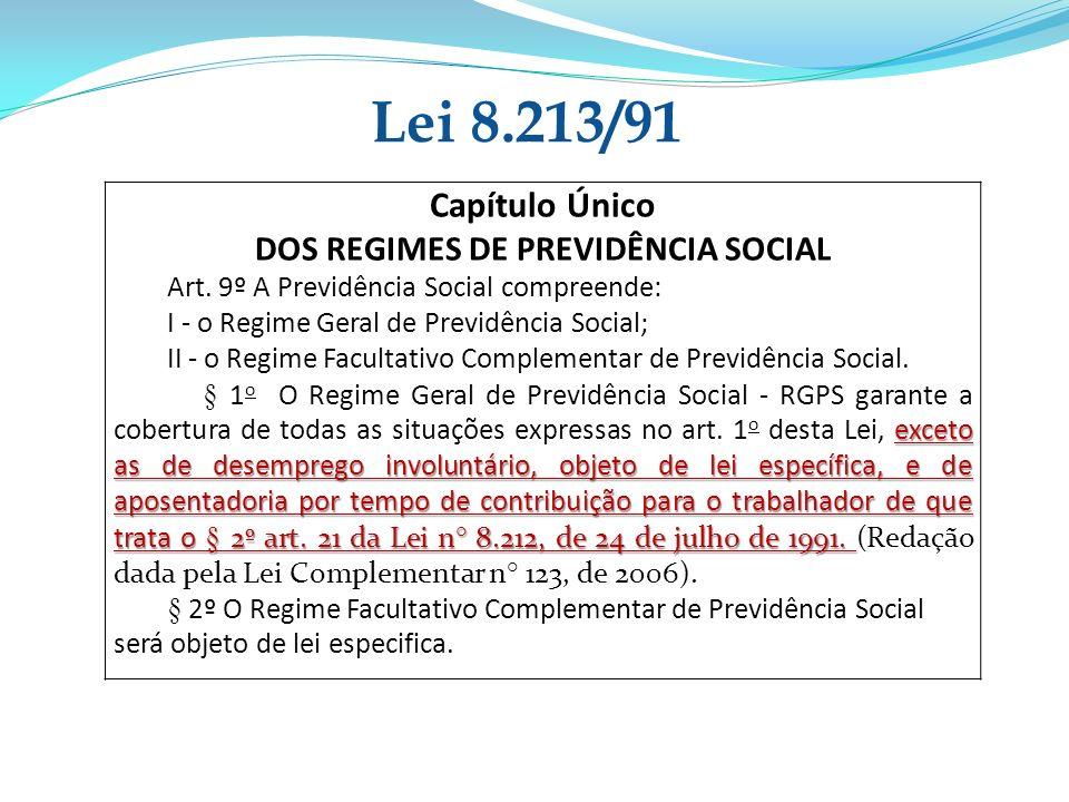 Capítulo Único DOS REGIMES DE PREVIDÊNCIA SOCIAL