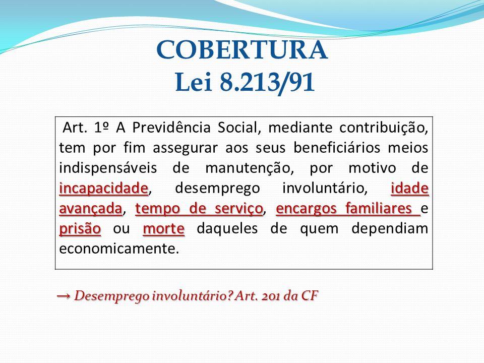 COBERTURA Lei 8.213/91 → Desemprego involuntário Art. 201 da CF