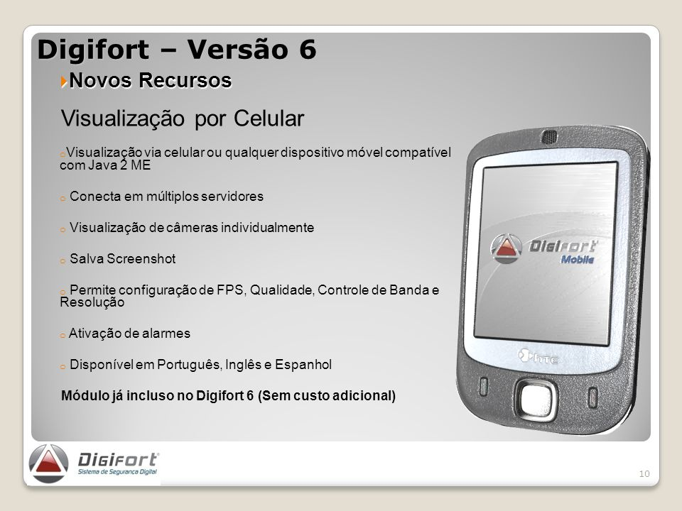 Digifort – Versão 6 Visualização por Celular Novos Recursos