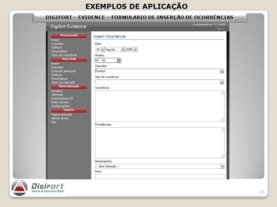 DIGIFORT – EVIDENCE – FORMULARIO DE INSERÇÃO DE OCORRÊNCIAS