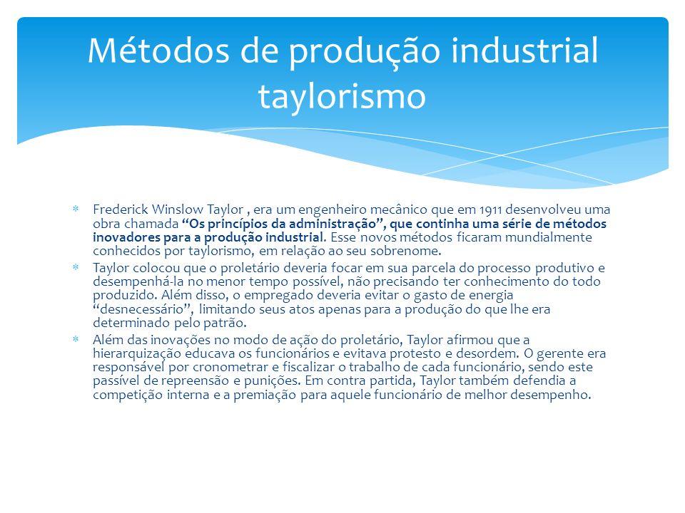 Métodos de produção industrial taylorismo