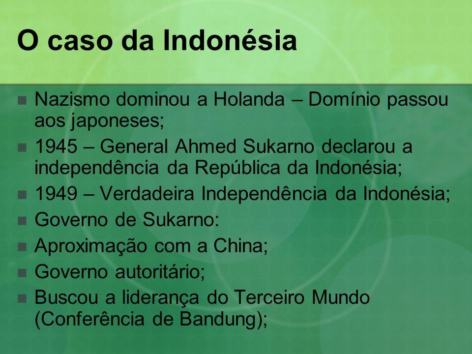 O caso da Indonésia Nazismo dominou a Holanda – Domínio passou aos japoneses;