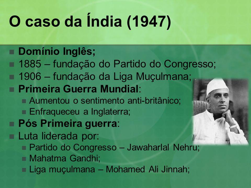 O caso da Índia (1947) Domínio Inglês;