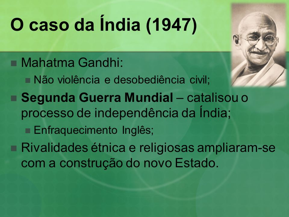 O caso da Índia (1947) Mahatma Gandhi: