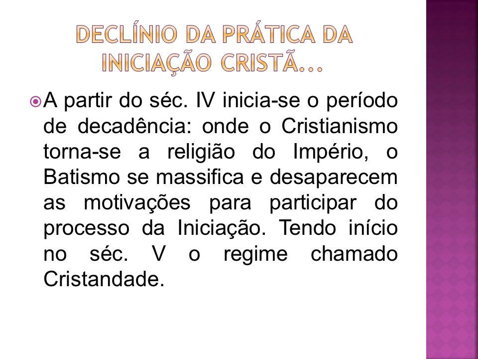 Declínio da prática da Iniciação Cristã...