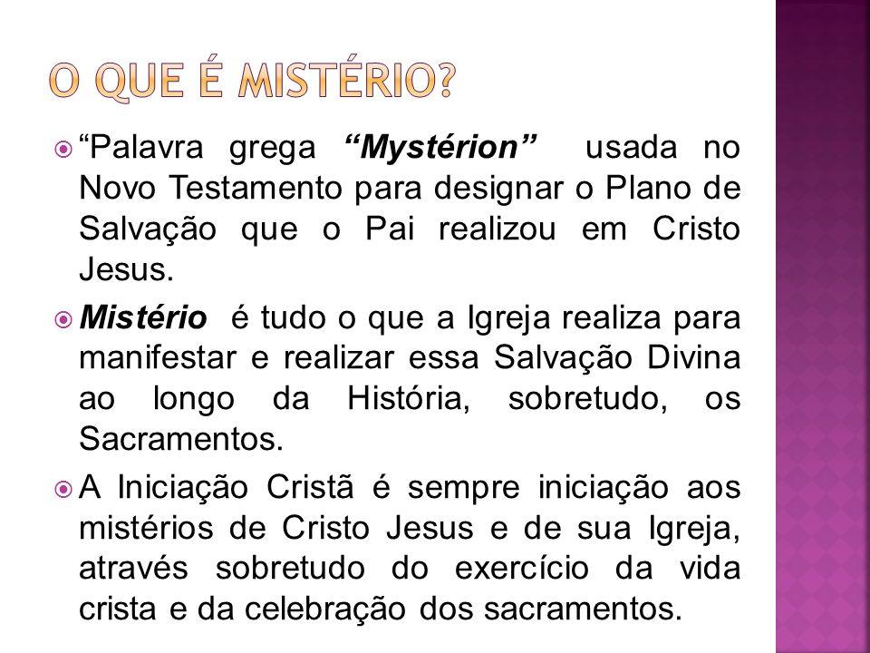 O que é mistério Palavra grega Mystérion usada no Novo Testamento para designar o Plano de Salvação que o Pai realizou em Cristo Jesus.