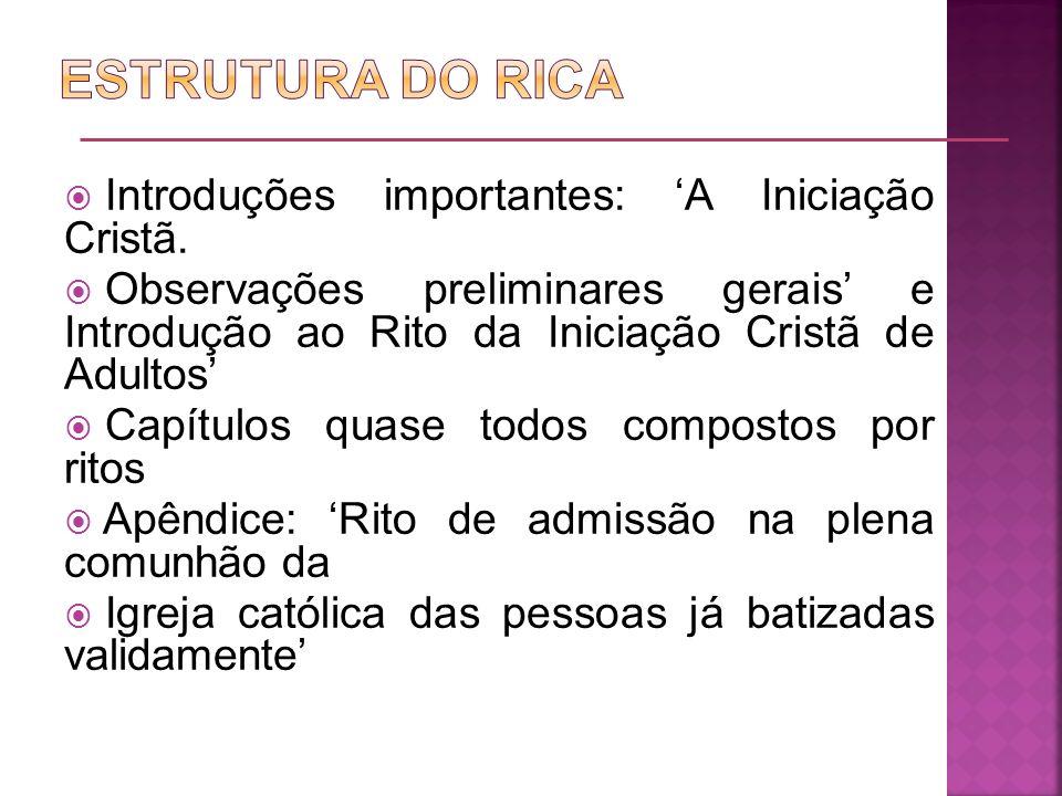 ESTRUTURA DO RICA Introduções importantes: 'A Iniciação Cristã.