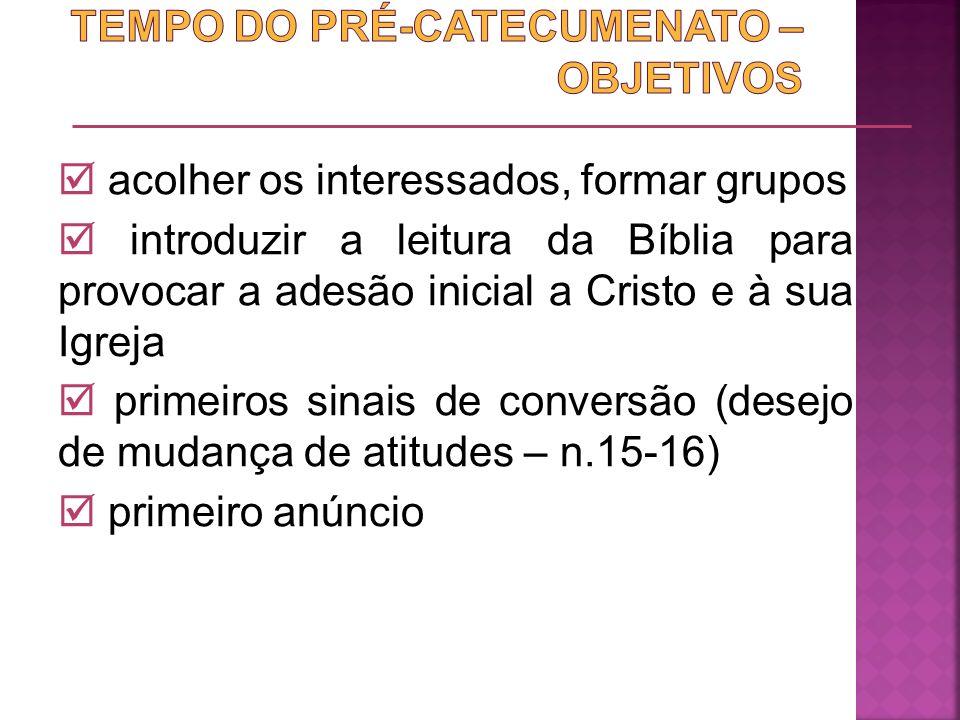 TEMPO DO PRÉ-CATECUMENATO – OBJETIVOS