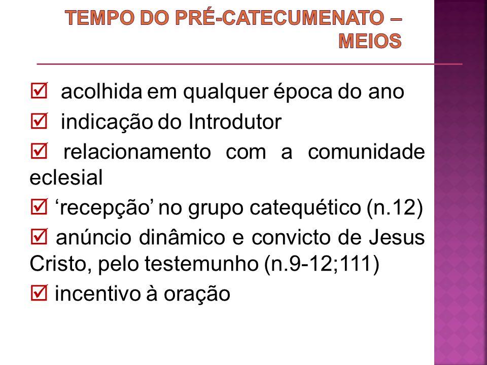 TEMPO DO PRÉ-CATECUMENATO – MEIOS