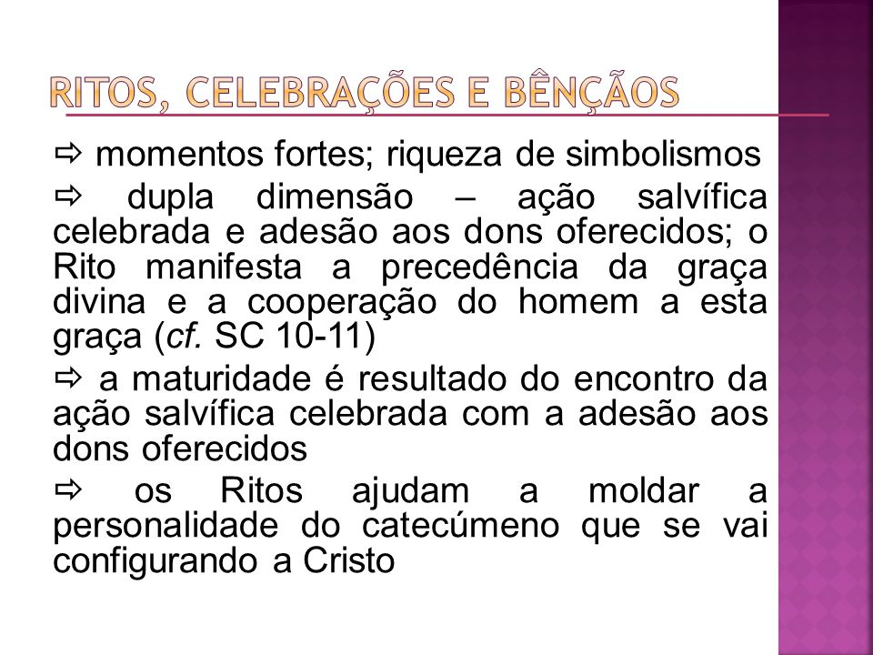 Ritos, celebrações e bênçãos