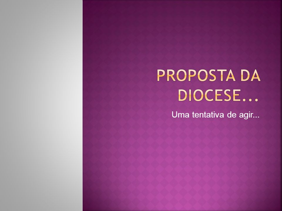 Proposta da diocese... Uma tentativa de agir...
