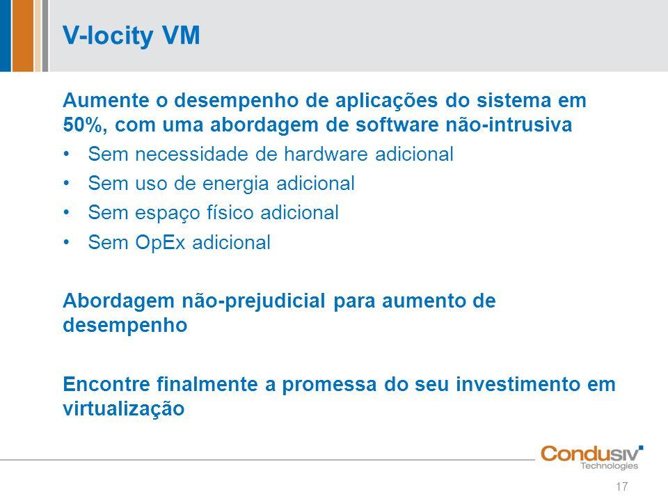 V-locity VM Aumente o desempenho de aplicações do sistema em 50%, com uma abordagem de software não-intrusiva.