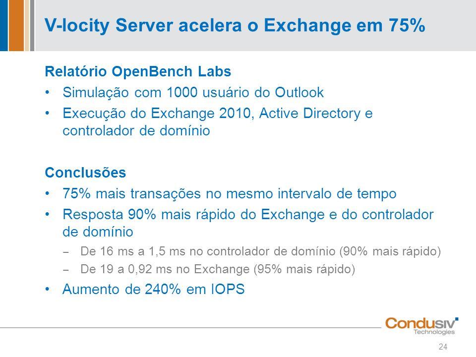 V-locity Server acelera o Exchange em 75%