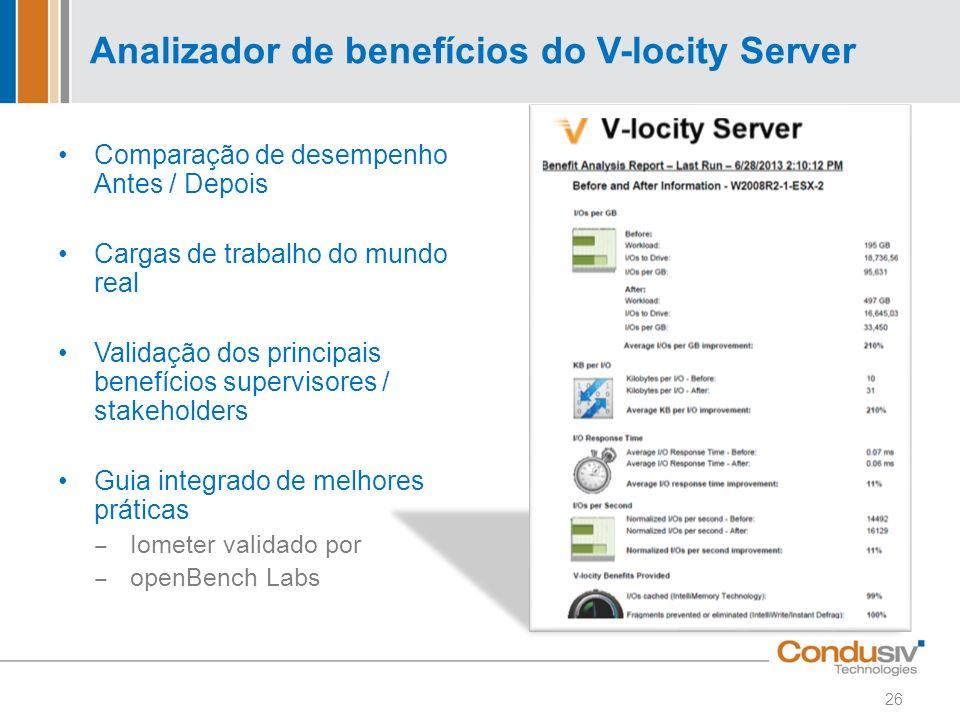 Analizador de benefícios do V-locity Server