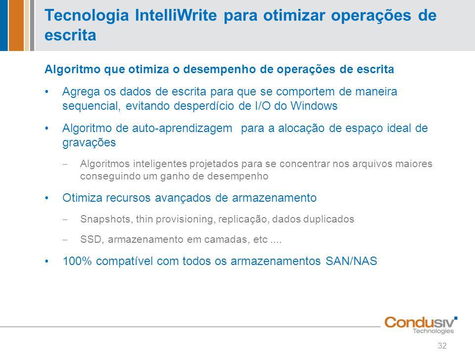 Tecnologia IntelliWrite para otimizar operações de escrita