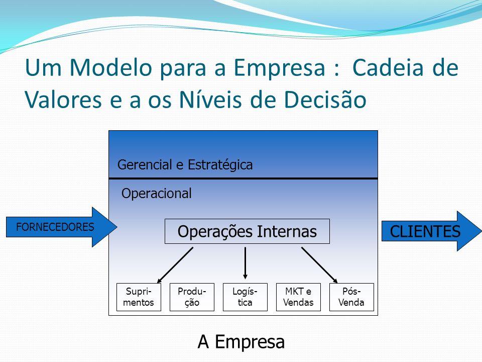 Um Modelo para a Empresa : Cadeia de Valores e a os Níveis de Decisão