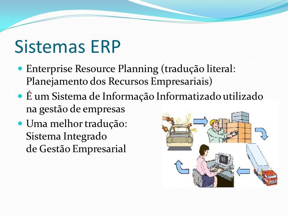 Sistemas ERP Enterprise Resource Planning (tradução literal: Planejamento dos Recursos Empresariais)