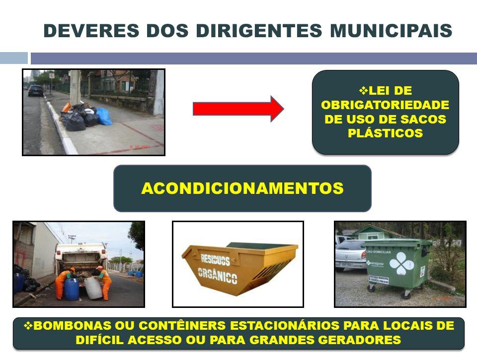 LEI DE OBRIGATORIEDADE DE USO DE SACOS PLÁSTICOS