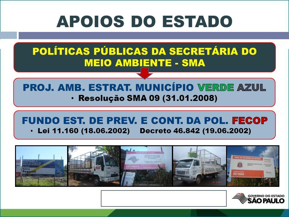 APOIOS DO ESTADO POLÍTICAS PÚBLICAS DA SECRETÁRIA DO MEIO AMBIENTE - SMA. PROJ. AMB. ESTRAT. MUNICÍPIO VERDE AZUL.