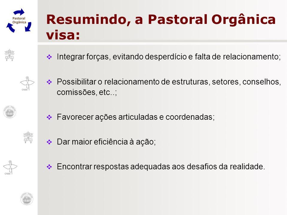 Resumindo, a Pastoral Orgânica visa: