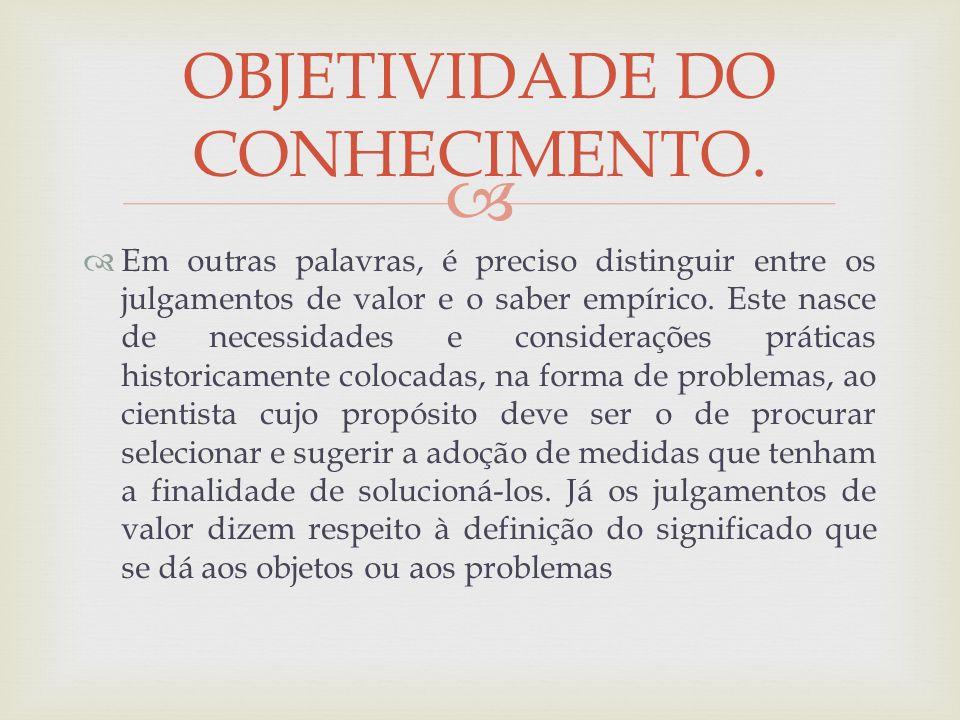 OBJETIVIDADE DO CONHECIMENTO.