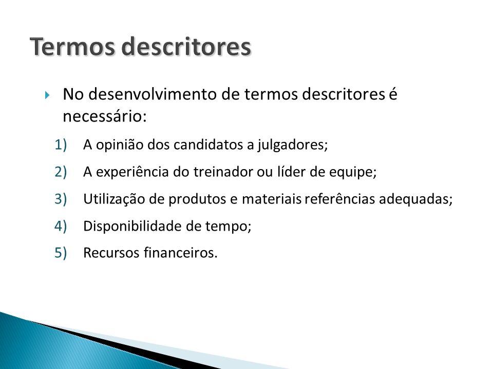 Termos descritores No desenvolvimento de termos descritores é necessário: A opinião dos candidatos a julgadores;