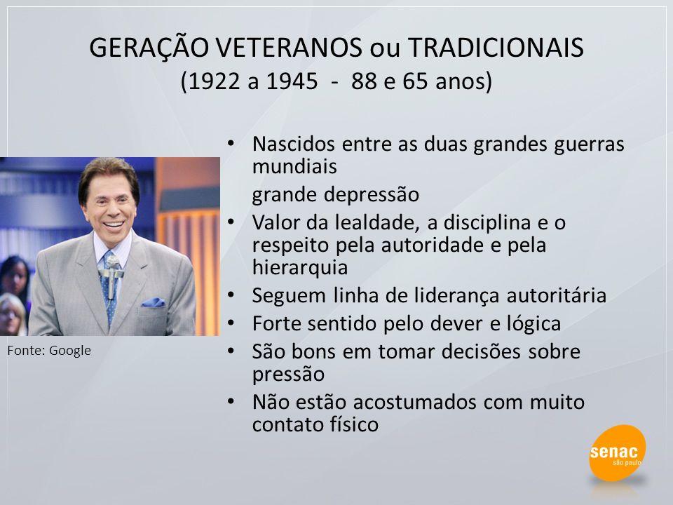 GERAÇÃO VETERANOS ou TRADICIONAIS (1922 a 1945 - 88 e 65 anos)