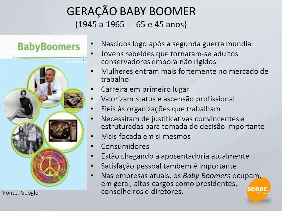 GERAÇÃO BABY BOOMER (1945 a 1965 - 65 e 45 anos)
