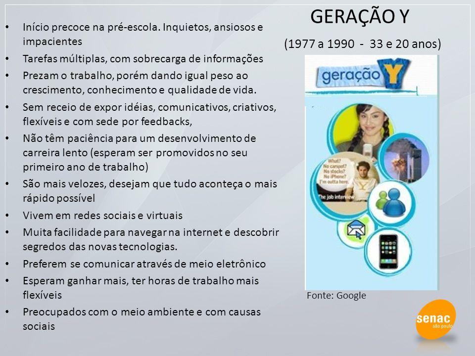 GERAÇÃO Y (1977 a 1990 - 33 e 20 anos) Início precoce na pré-escola. Inquietos, ansiosos e impacientes.
