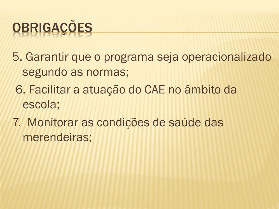Obrigações 5. Garantir que o programa seja operacionalizado segundo as normas; 6. Facilitar a atuação do CAE no âmbito da escola;