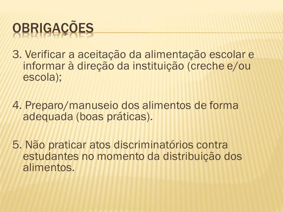 Obrigações 3. Verificar a aceitação da alimentação escolar e informar à direção da instituição (creche e/ou escola);