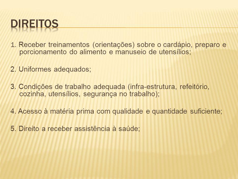 Direitos 1. Receber treinamentos (orientações) sobre o cardápio, preparo e porcionamento do alimento e manuseio de utensílios;