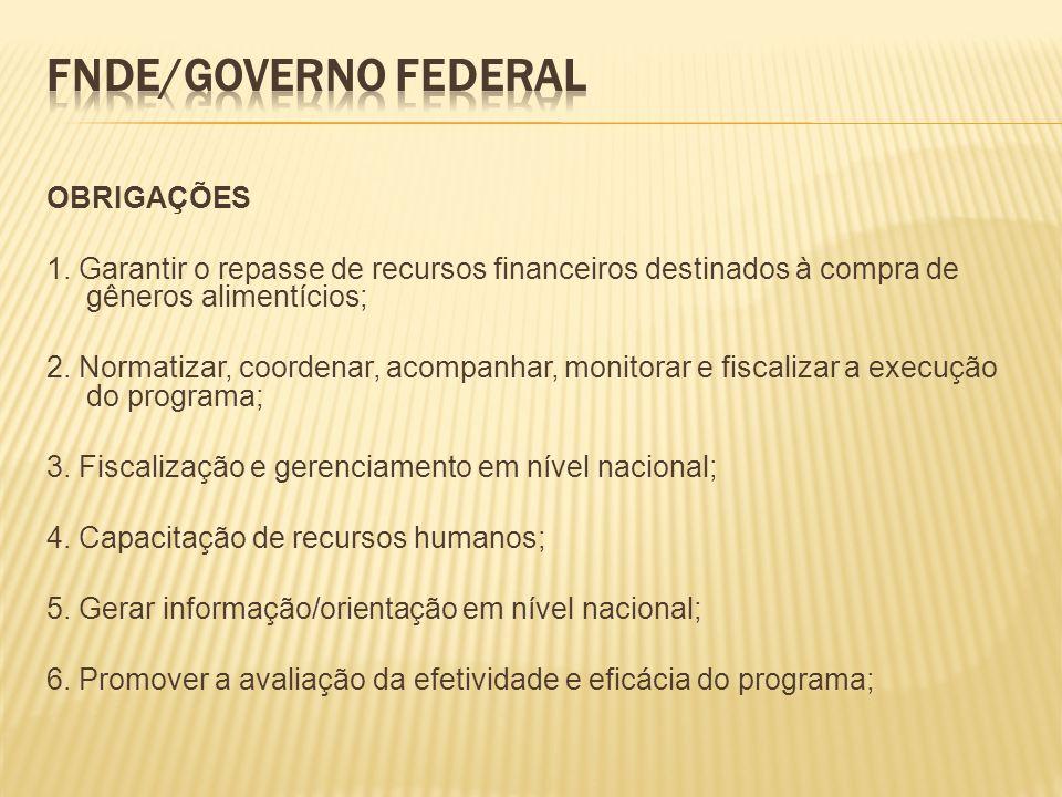 FNDE/Governo Federal OBRIGAÇÕES