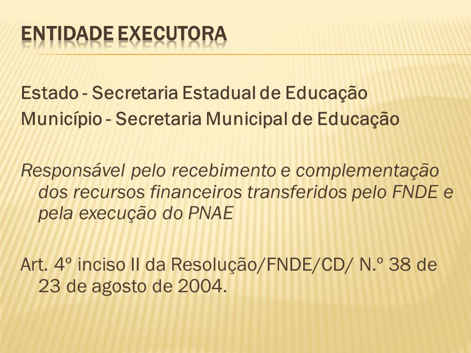 ENTIDADE EXECUTORA Estado - Secretaria Estadual de Educação