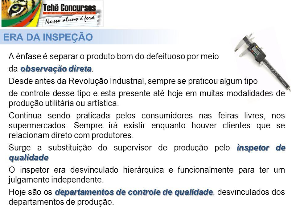 ERA DA INSPEÇÃO A ênfase é separar o produto bom do defeituoso por meio. da observação direta.