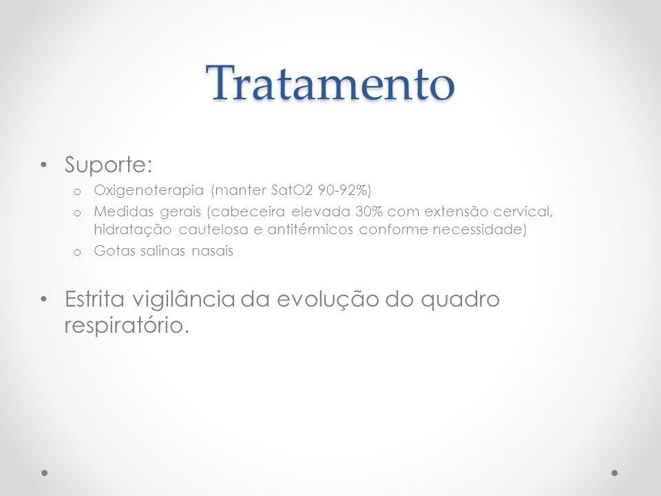 Tratamento Suporte: Oxigenoterapia (manter SatO2 90-92%)