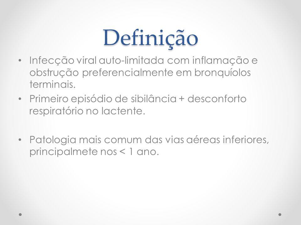 Definição Infecção viral auto-limitada com inflamação e obstrução preferencialmente em bronquíolos terminais.