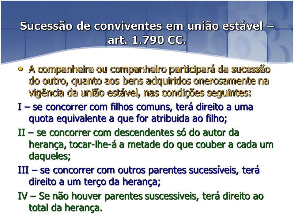 Sucessão de conviventes em união estável – art. 1.790 CC.