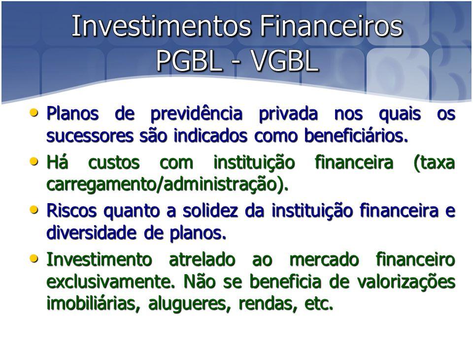 Investimentos Financeiros PGBL - VGBL
