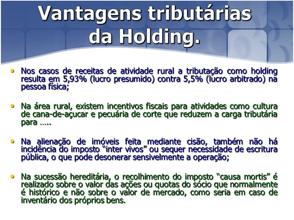Vantagens tributárias da Holding.