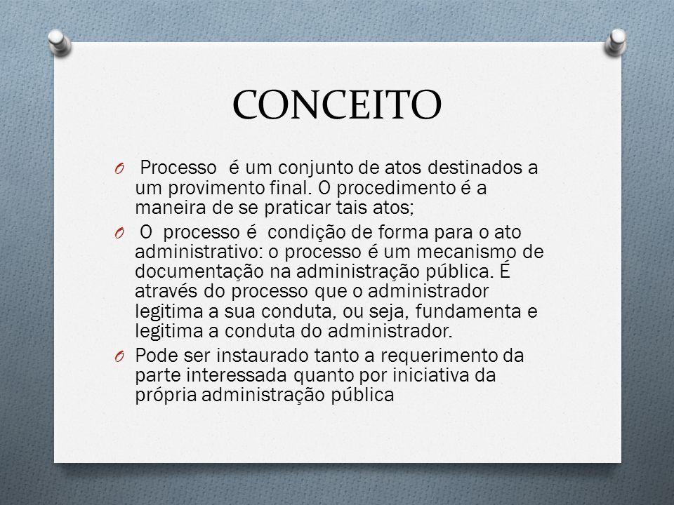 CONCEITO Processo é um conjunto de atos destinados a um provimento final. O procedimento é a maneira de se praticar tais atos;