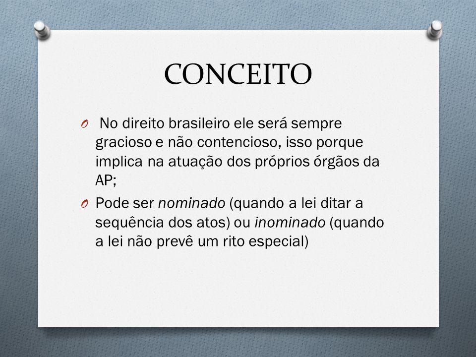 CONCEITO No direito brasileiro ele será sempre gracioso e não contencioso, isso porque implica na atuação dos próprios órgãos da AP;