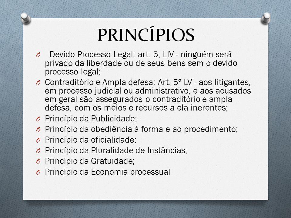 PRINCÍPIOS Devido Processo Legal: art. 5, LIV - ninguém será privado da liberdade ou de seus bens sem o devido processo legal;